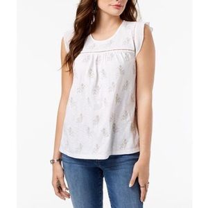 Petite Embroidered Ladder Trim Top